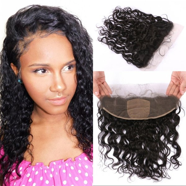 Brazilian Virgin Hair Wet and Wavy Silk Base Lace Frontal with Baby Hair Middle Free 3 Part Style FDSHINE