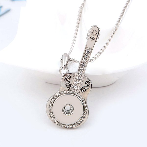10pcs/lot crystal noosa snap button guitar necklaces pendant silver plated platinum diy 18mm chunk snap button jewelry ginger snaps