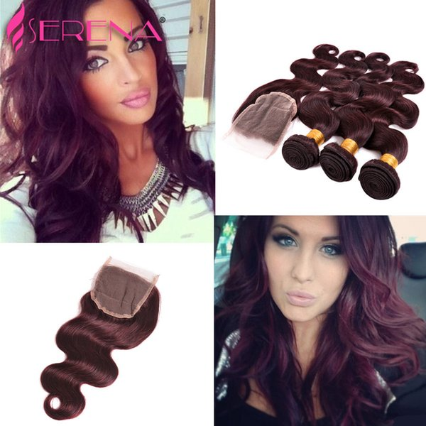 99J Brazilian Hair Weave 3 Bundles Burgundy Body Wave 4Pcs Grade 7A Wine Red Brazilian Virgin Remy Human Hair With Lace Closure