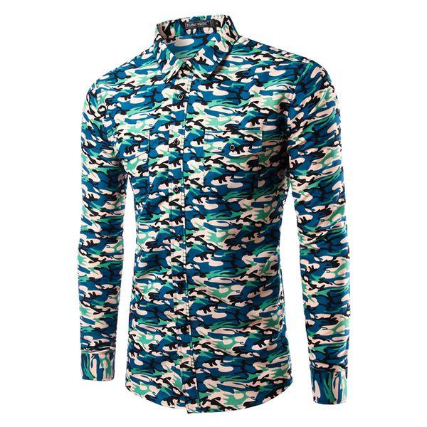 Wholesale- Brand New Camouflage Shirts Mens Long Sleeve Casual Shirts Slim Fit Army Camo Shirt Disruptive Pattern Mens shirts Camisa Hombre