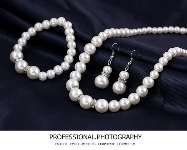 Sistemas de la joyería de la boda plateado cristal claro traje de perlas de imitación mujeres del banquete de boda del regalo del envío gratis