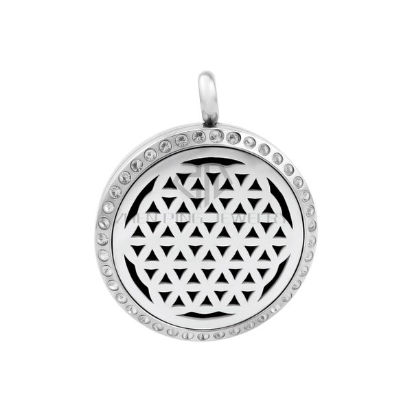 Round Silver The Seed of Life (30mm) Essential Oils Stainless Steel Necklace Perfume Diffuser Locket Aromatherapy Locket Necklace
