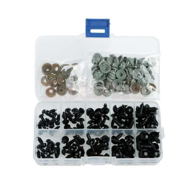New 100pcs 6-12mm Black Plastic Safety Eyes For Teddy Bear Doll Animal Puppet Crafts