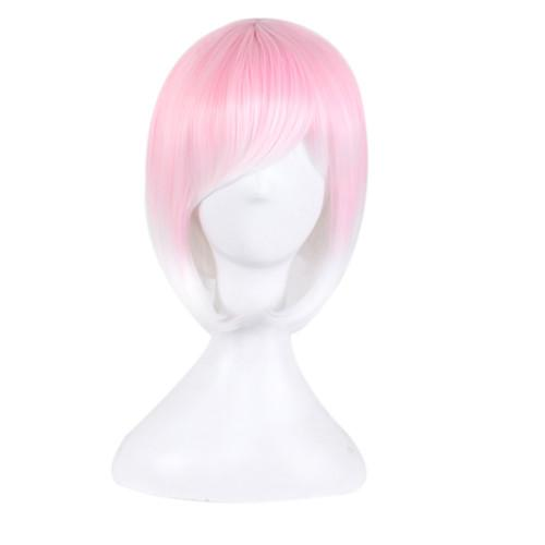 Women Cosplay Wig Short Animation Bob Hair Side Bang Ombre Pink White Colorful Women Synthetic Wig