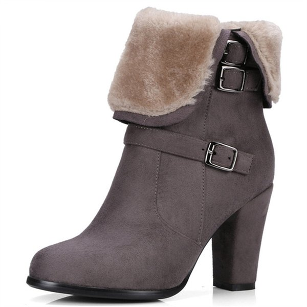 Large size 34-43 winter shoes fashion punk snow boots woman flock zip solid ankle boots for women high heels