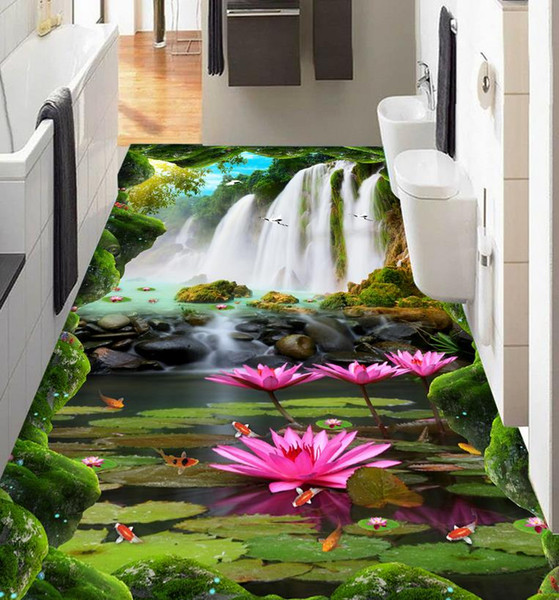 3d flooring Custom wallpaper scenery for walls Waterfall lotus carp 3d floor wallpapers for bed room 3d floor painting