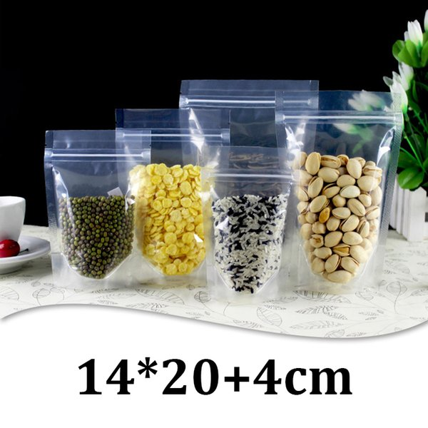 14x20cm HD clear plastic food grade packaging resealable ziplock stand up gift pouch bags with zipper