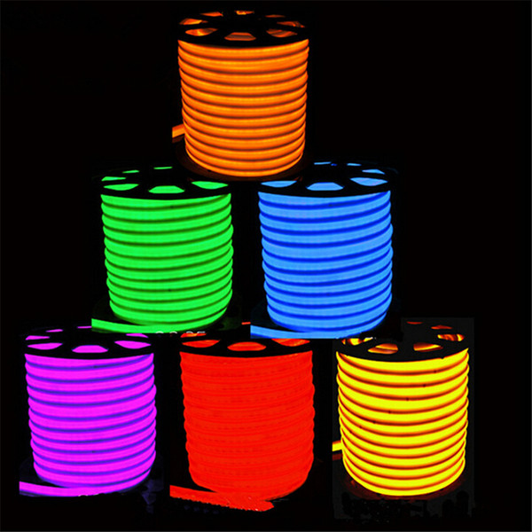 Newly LED strip lights waterproof IP65 flexible LED strip SMD2835 120 leds both side glowing high bright 8 colors neon light wholesale