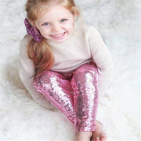 Girl Leggings Children Pink Silver Gold Sequin Leggings Pant 9 Color Leggings Cotton Sequin Pants Girls Kids Spring Autumn Tight Stock