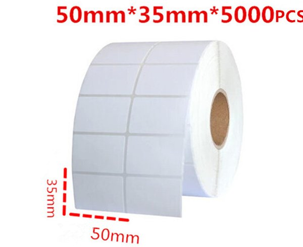 50*35mm 5000pcs/roll blank or white free shipping office paper barcode self adhesive sticker label for printer