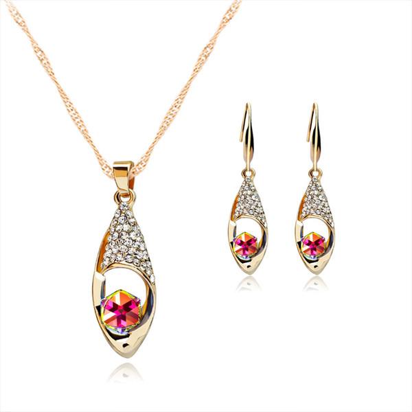 Cristal Diamante Ángel Lágrimas Collar de gota Pendientes Conjuntos de joyería Colgantes de cadena de oro para las mujeres Conjuntos de joyería de boda de moda Envío de la gota