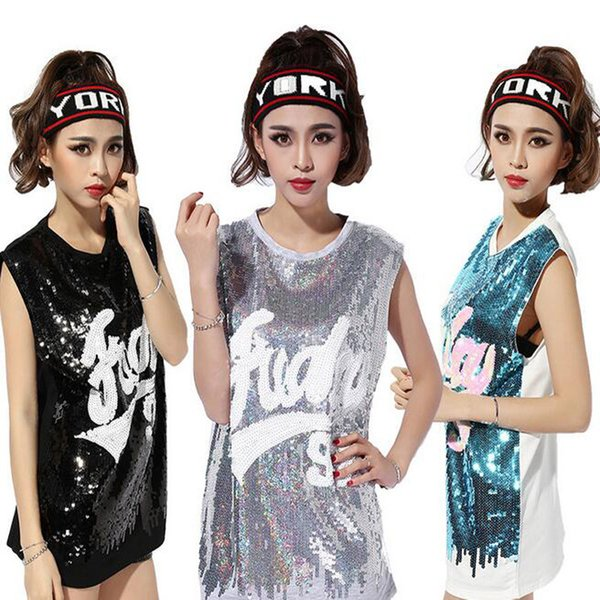 Sexy Sleeveless Clothing Hip-Hop Sequin T-Shirt For Women Basketball Baby Jazz Perform Tees Vest Dancing Clothing 3 Colors Free Shipping