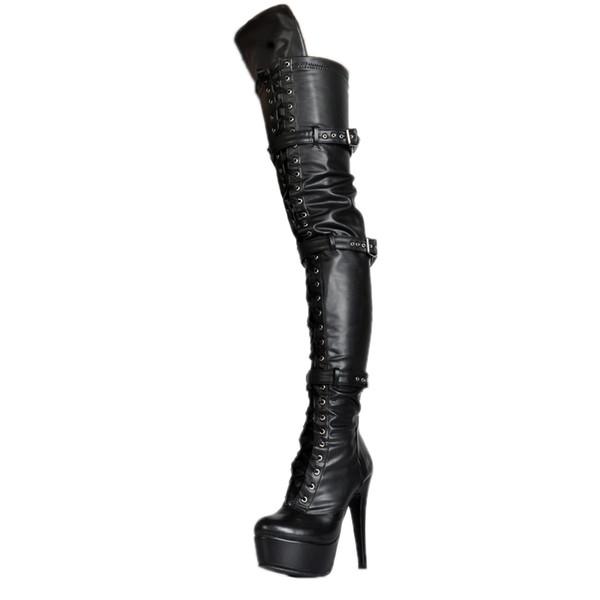 0395c3febb4e85 Kolnoo Handmade Womens 2017 New Arrival High Heel Platform Thigh-high Boots  Pull Off Large Size Fashion Winter Party Dress Shoes XD340