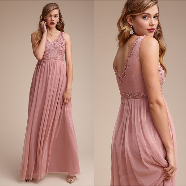 Newest Blush Pink Bridesmaids Dresses 2019 V Neck Sleeveless A Line Crystal Beaded Formal Bridesmaid Dress Long For Wedding