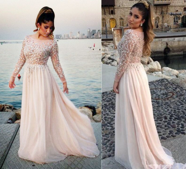 best selling 2019 Luxury Style Long Illusion Sleeve Plus Size Prom Dresses Scoop Neck Hot Crystals Beads Sequins Floor Length Party Gowns Custom Made P97