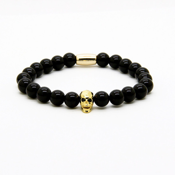 Fashion Jewelry Wholesale Micro Pave Black Cz Faceted Mix Colour Skull With 8mm A Grade Black Onyx Stone Beads Tube Men's Bracelets