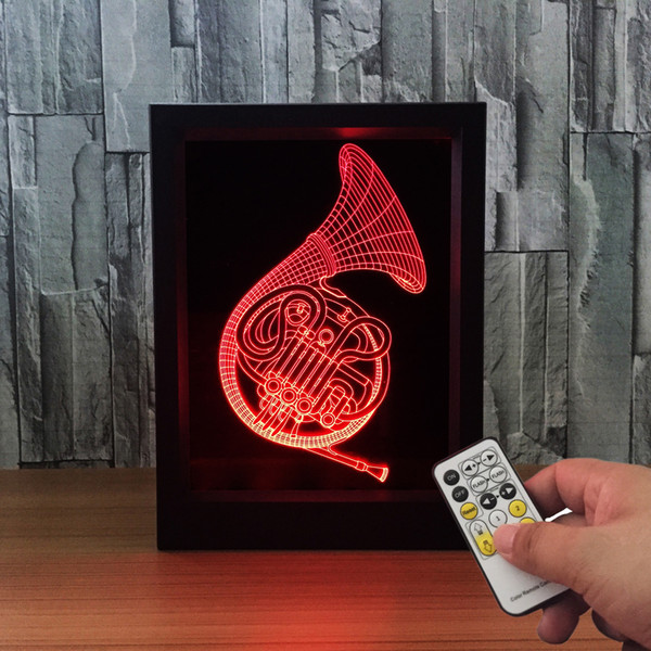3D Saxophoone LED Photo Frame IR Remote 7 RGB Lights Battery or DC 5V Factory Wholesale Dropship Free Shipping