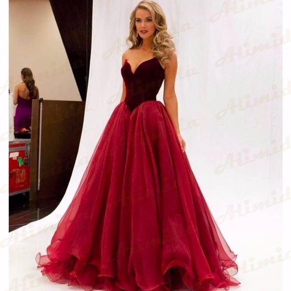 Burgundy Sleeveless Evening Dress 2017 New V-Neck A-Line Floor-Length Formal 51d4be21f174