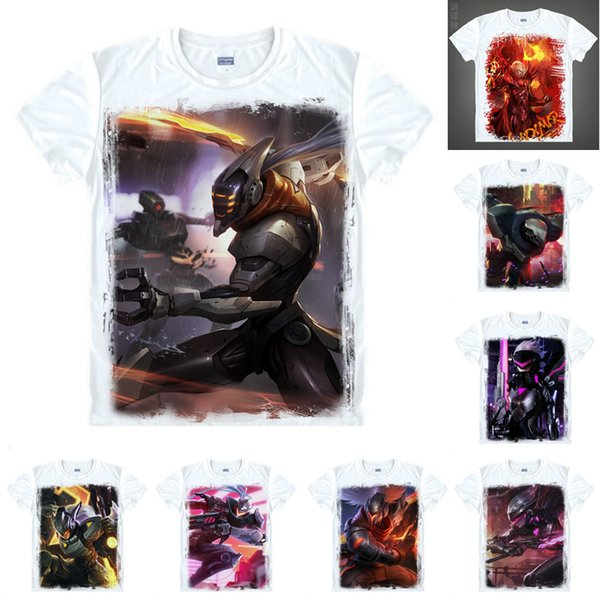 Anime Shirt LOL, League of Legends T-Shirts Multi-style Short Sleeve Project Yasuo Leona Cosplay Motivs Hentai Shirts