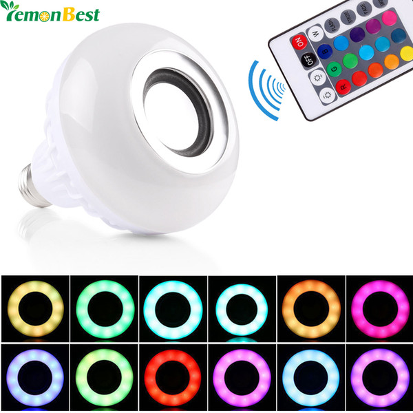 LemonBest AC100-240V Bluetooth 3.0 Music Audio RGB Speaker Light RGB 12W E27 LED Bulb Lamp for iOS Android with Remote Control