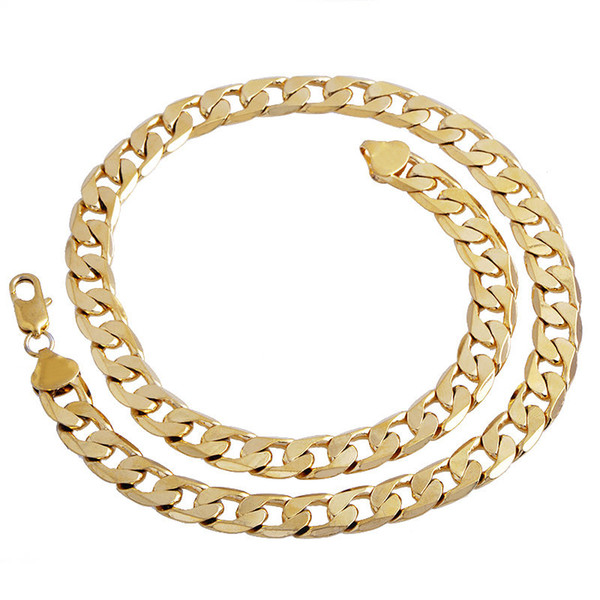 New Big 10MM Width Yellow Solid Gold Filled Cuban Chain Necklace Thick Mens Jewelry Womens Cool for dad boyfriend birthday gift