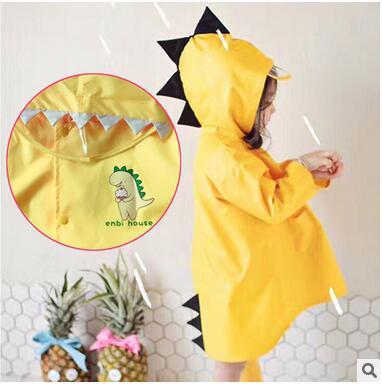 Cute Dinosaur Raincoats Kid's Animal Cloak Raincoats Boys Girls Yellow Poncho Rain Cape High Quality With Storage Bag