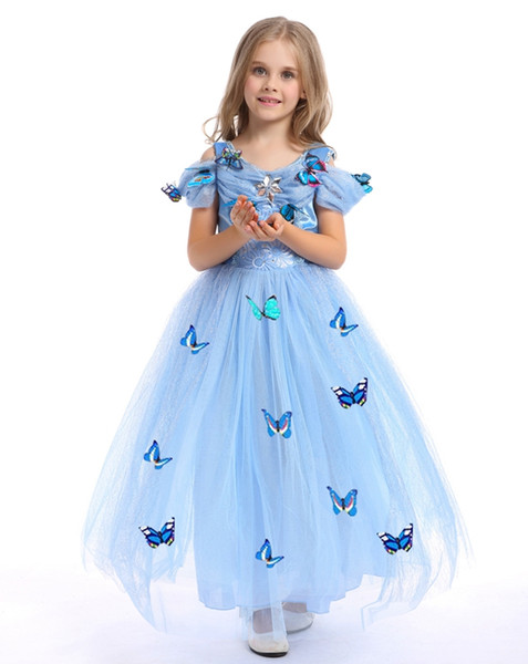 Wholesale girl make up cosplay beauty dresses Cinderella Princess Dress with butterfly Girls frozen costume tutu skirts kids ball gown baby