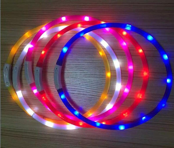 Newest Cut USB Charge Dog Training Collar Outdoor LED Luminous Charger Pet Dog LED Light Adjustable Collars 6 Colors LED Flashing Dog Collar