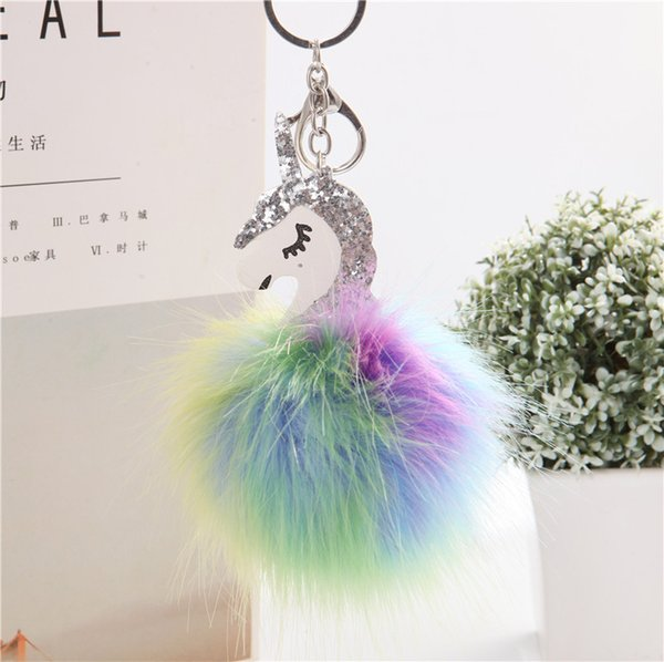 2017 Anime Horse Keychain Cute Metal Unicorn Key Chain Pendant Women Car Styling Fluffy Fur Pompom Keyring Bag Hang Trinkets 4 colors