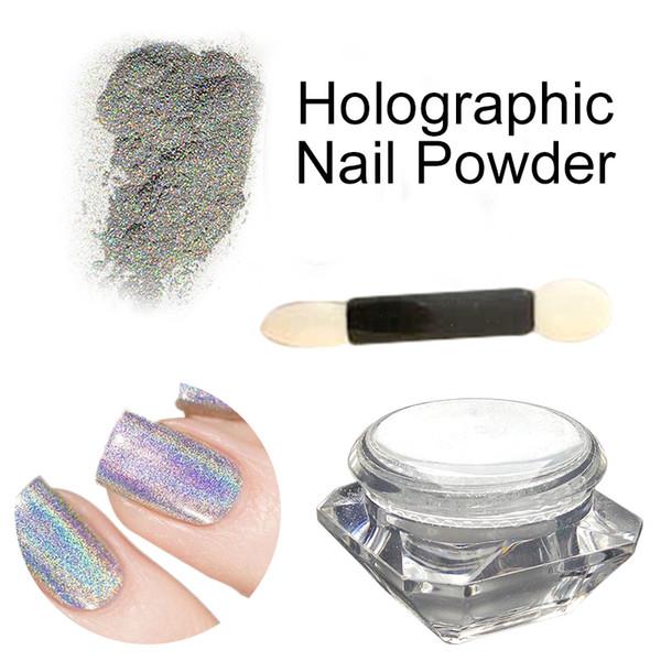 Atacado- 1g / caixa Shimmer espelho poeira holográfica Laser cor de prata arco-íris pigmento brilhando em pó Holo Glitter decoração arte