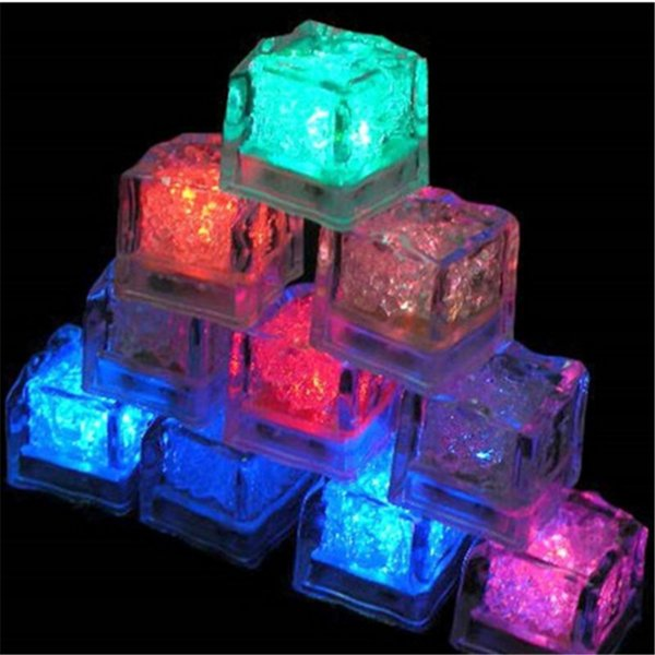 Christmas Romantic LED Ice Cubes Fast Slow Flash 7 Color Auto Changing Crystal Cube For Valentine's Day Party Wedding Water-Actived Light-up