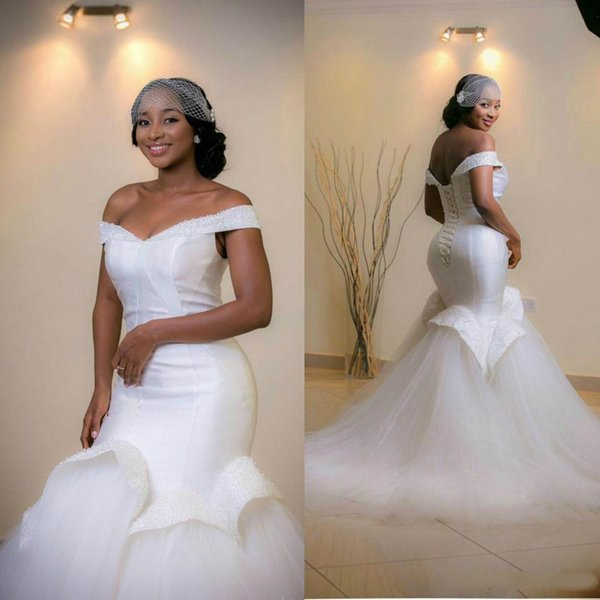 Elegant Off Shoulder Mermaid Wedding Dresses 2017 Ruffle Sleeveless Beads Arab Bridal Dress Sweep Train Real Image Lace Up Wedding Gowns