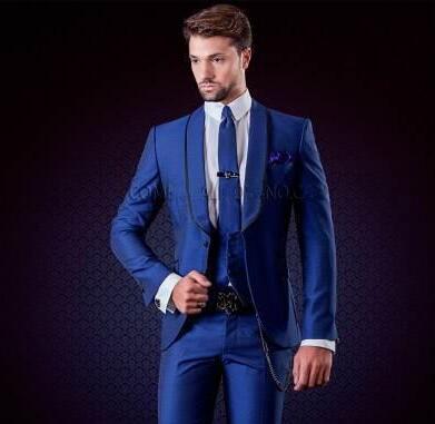 Yeni Tasarım Tek Düğme Mavi Damat Smokin Groomsmen Best Man Suits Mens Düğün Blazer Suits Yemeği İş Takımları (Ceket + Pantolon + Yelek)
