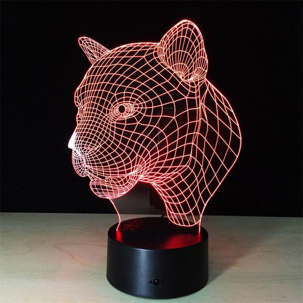 3D LED Night Light Illusion Lampe USB Powered Touch Switch En forme d'animal Effet tridimensionnel 7 Changements de couleurs Creative Design Desk