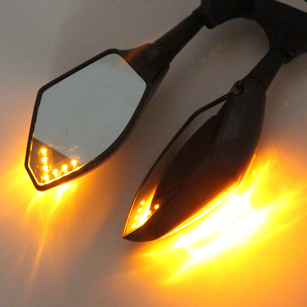 Black Motorcycle LED Turn Signals Rearview Sport Bike Mirrors For Honda/SUZUKI/KAWASAKI/YAMAHA/Triumph/Ducati MOT_50R