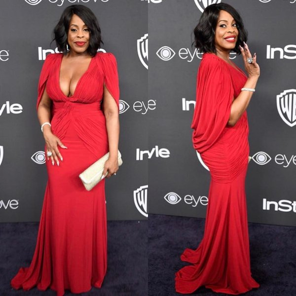 best selling Niecy Nash Plus Size Red Golden Globe Red Carpet Evening Gowns with Cape Mermaid Chiffon Deep V-Neck 2019 Women Formal Celebrity Dress Cheap
