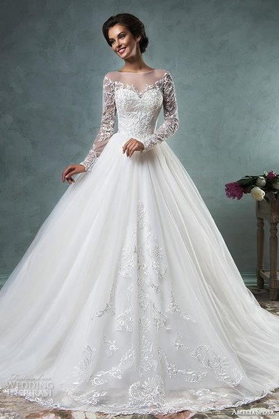 long sleeve vintage wedding dresses 2017 amelia sposa wedding gowns bateau neckline embroideried bodice ball gown bridal gowns