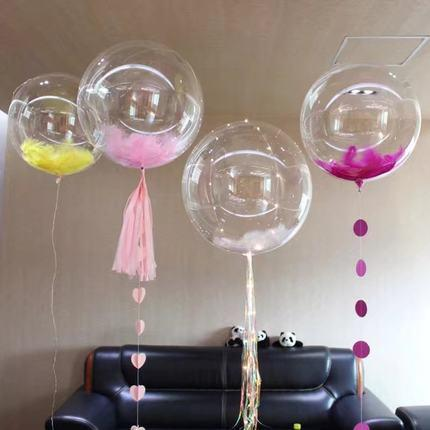 Toptan 100 adet rastgele renkler 10-15 cm Marabou Tüyler kaz tüyü için şeffaf balon