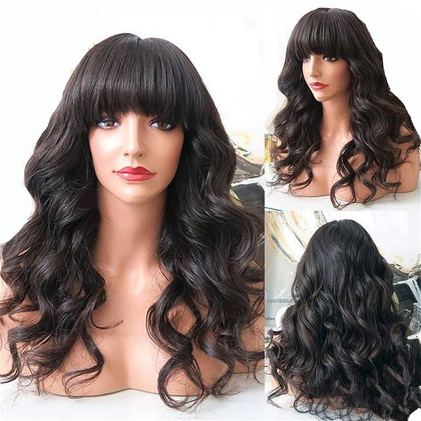 Celebrity Wigs Full Lace Wig with Bangs Loose Wave Human Hair Virgin Brazilian Front Lace Wig with Bangs for Black Woman Free Shipping