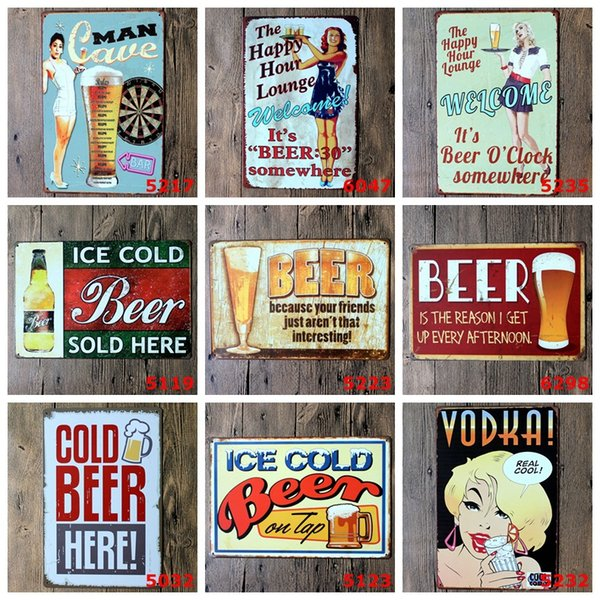 Cold Beer Here Metal Poster Wall Decor Bar Home Vintage Craft Gift Art 20x30cm Iron painting Tin Poster (Mixed designs)