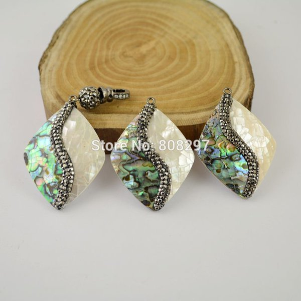 DIY 5Pcs Pave Rhinestone Shell Pendant , Fashion Pendants Charm Jewelry Finding For Necklace