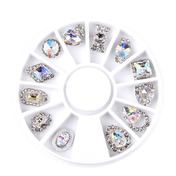 New 12pcs / Box Nail Art Strass Charm Clear AB Lega Nail Crystal Decorations 3D Mix Designs Disegni per manicure Vendita 2017