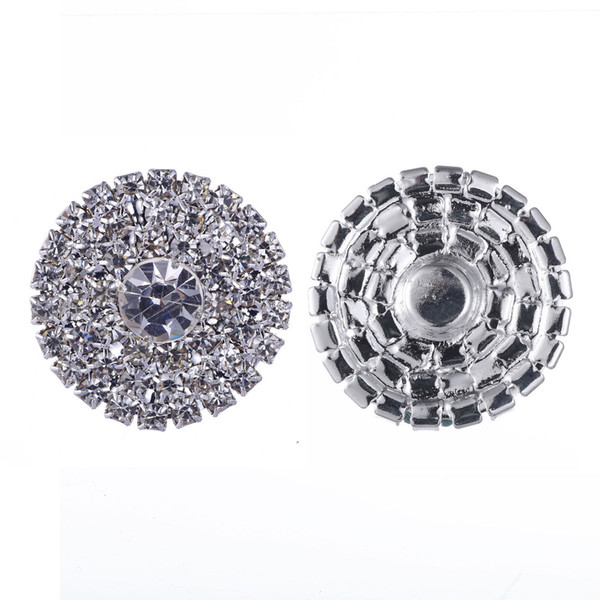 top popular 50pcs 25mm Round Rhinestone Silver Button Flatback Decoration Crystal Buckles For Baby Hair Accessories 2021