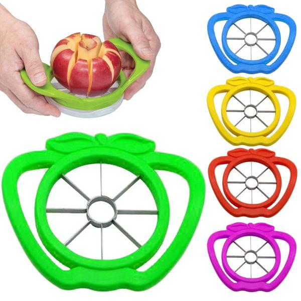 best selling 300pcs lot Apple Cutter Plastic +Stainless Steel Fruit Slicer Multi-function Stainless Steel Shredders Slicers Apple Device