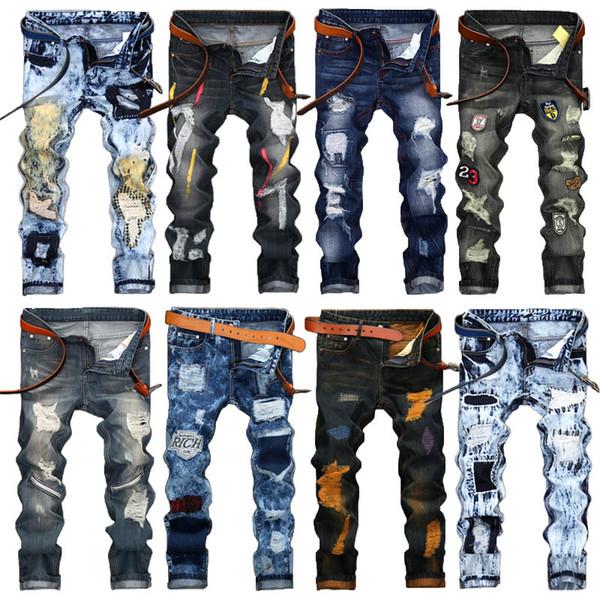 top popular Fashion Vintage Mens Ripped Jeans Pants Slim Fit Distressed Hip Hop Denim COOL Male Novelty Streetwear Jean Trousers Hot Sale 2019