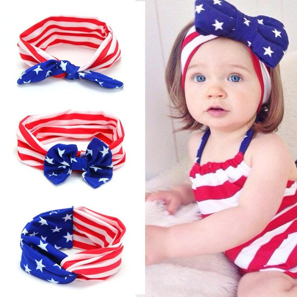 Fashion American Flag Children Cross Bow With Rabbit Ears Headbands Baby Hair Knot Bow Tie Hair Accessories Ornaments 5Pcs \Lot