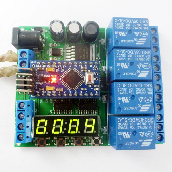 DC 12V 24V 4ch Pro mini PLC Board Relay Shield Module for Arduino diy LED Display Cycle Delay Timing Timer Switch Turn ON/OFF