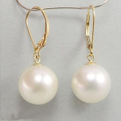 NATURAL WHITE ROUND 9-10 MM AUSTRALIAN SOUTH SEA PEARL EARRINGS 14K