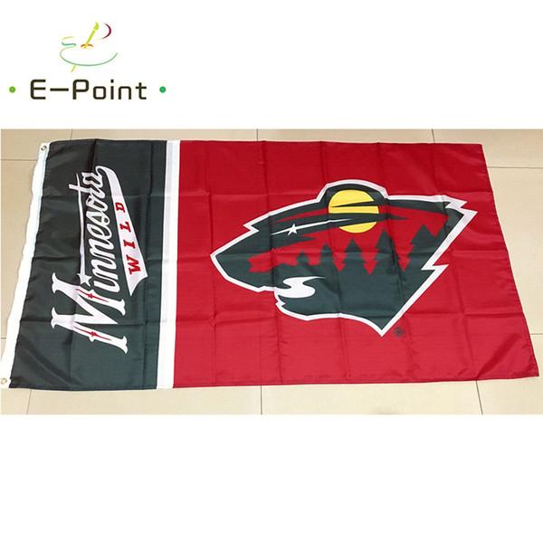 Миннесота Дикий 3 фута x 5 футов (90 см * 150 см) Полиэстер Америка флаг