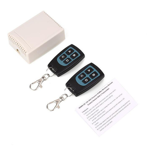 Wholesale- 12V 433MHZ Wireless 4 Channel Relay RF 2 Remote Control Copy Code Cloning Duplicator Controller ON-OFF Switch for garage door